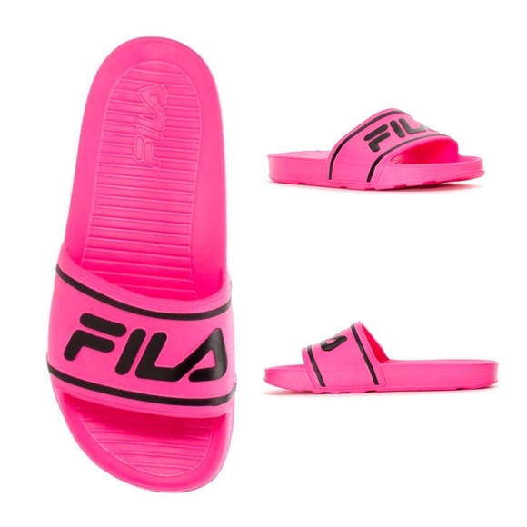 Fila Shoes | Hot Pink Slide On Sandals